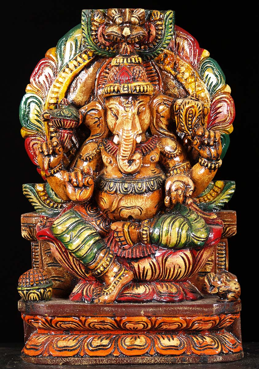 Sold Wooden Colorful Ganesha Statue 12 Quot 76w6cf Hindu