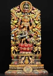 Wood Lakshmi Statue with 7 Peacocks 28