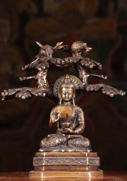 Brass Buddha Under Tree with Roosting Peacocks 9