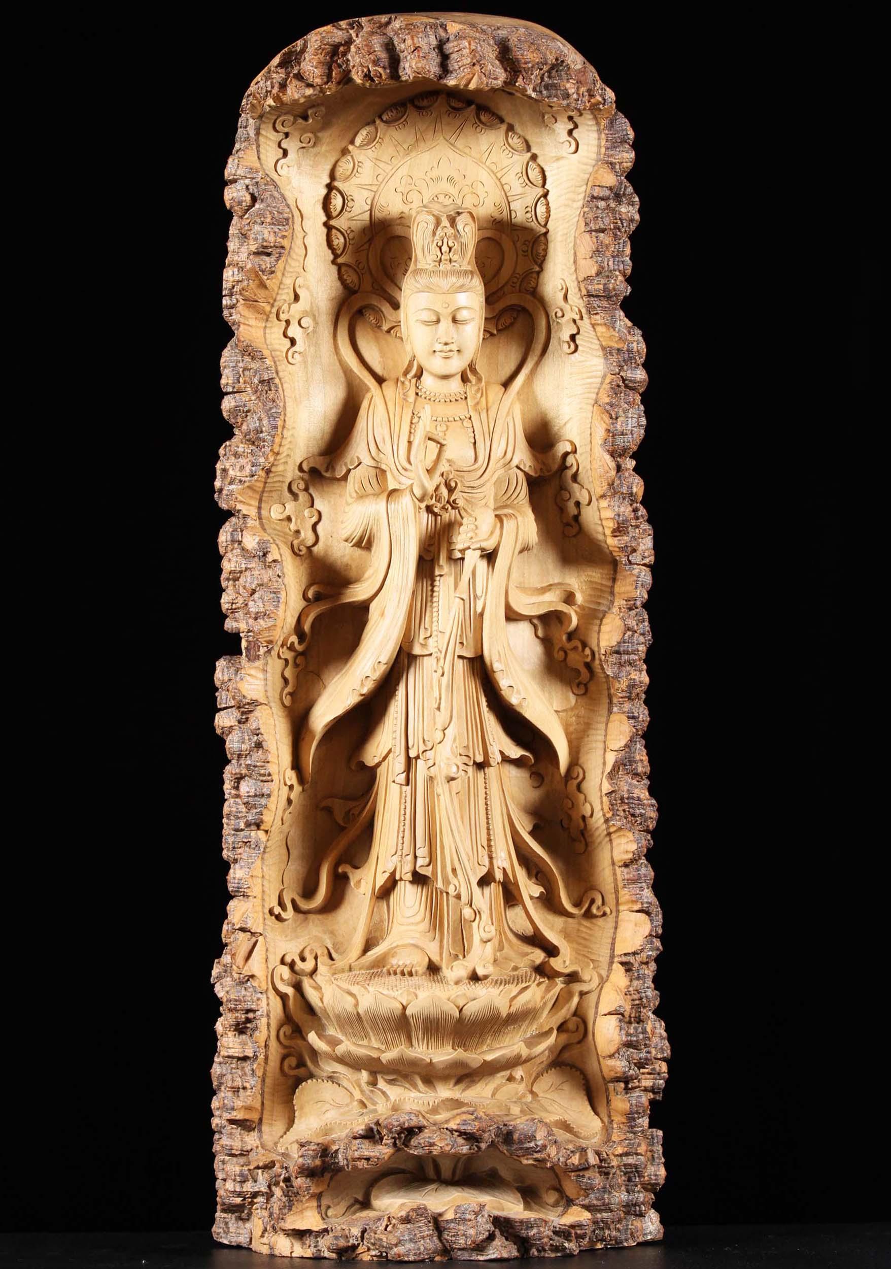 SOLD Crocodile Wood Kwan Yin Statue Pouring Nectar 35\