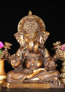 Brass Ganesh with Curled Trunk & Lotus Flowers 9