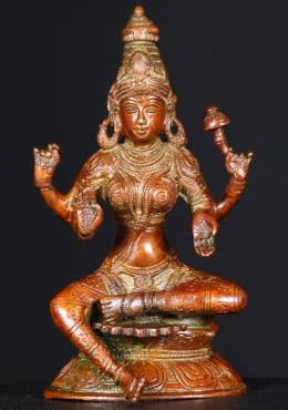 Brass Seated Lakshmi Statue 8