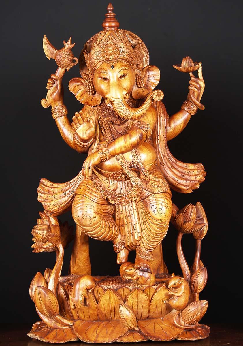 Sold Dancing Bali Ganesha Statue With Rat 40 Quot 81w7