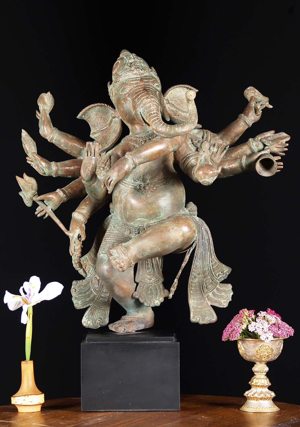 Sold Brass Dancing Ganesh With 10 Arms 20 Quot 81bb21