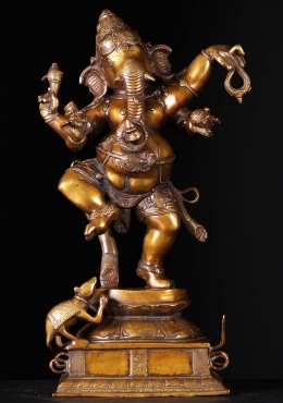 Brass Dancing Ganapathi Statue with Rat 23
