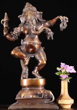 Brass Dancing Ganesha with Rat Sculpture 12