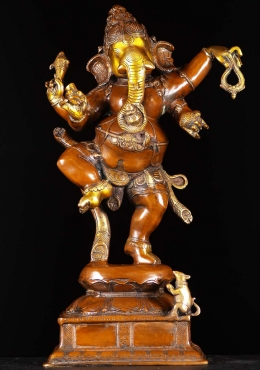 Dancing Ganesha With Rat Statue 24