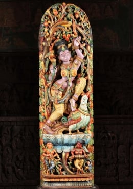 Wood Dancing Meenakshi Statue with Peacocks 62