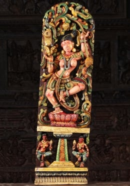 Wooden Dancing Meenakshi Statue with Parrot 48