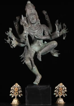 Brass Dancing Shiva Statue Holding Trident 25