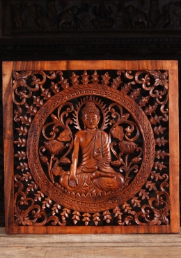 Wood Buddha Wall Panel with Lotus Flowers 24
