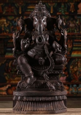 Dark Wood Ganesh Statue With Mooshika 30