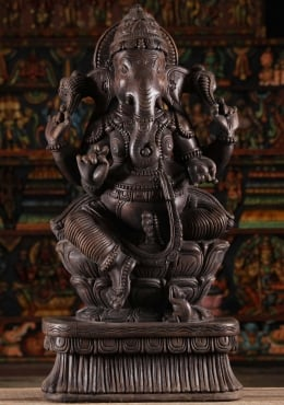 Dark Wood Seated Ganesha Carving 36