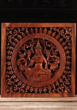 Wood Lakshmi Wall Panel with Floral Designs 24