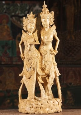 Wood Rama Sita Carving with Beautiful Details 26