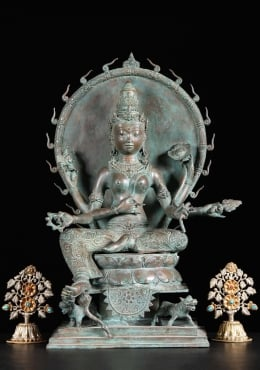 Brass 6 Armed White Tara Statue with Fiery Halo 19