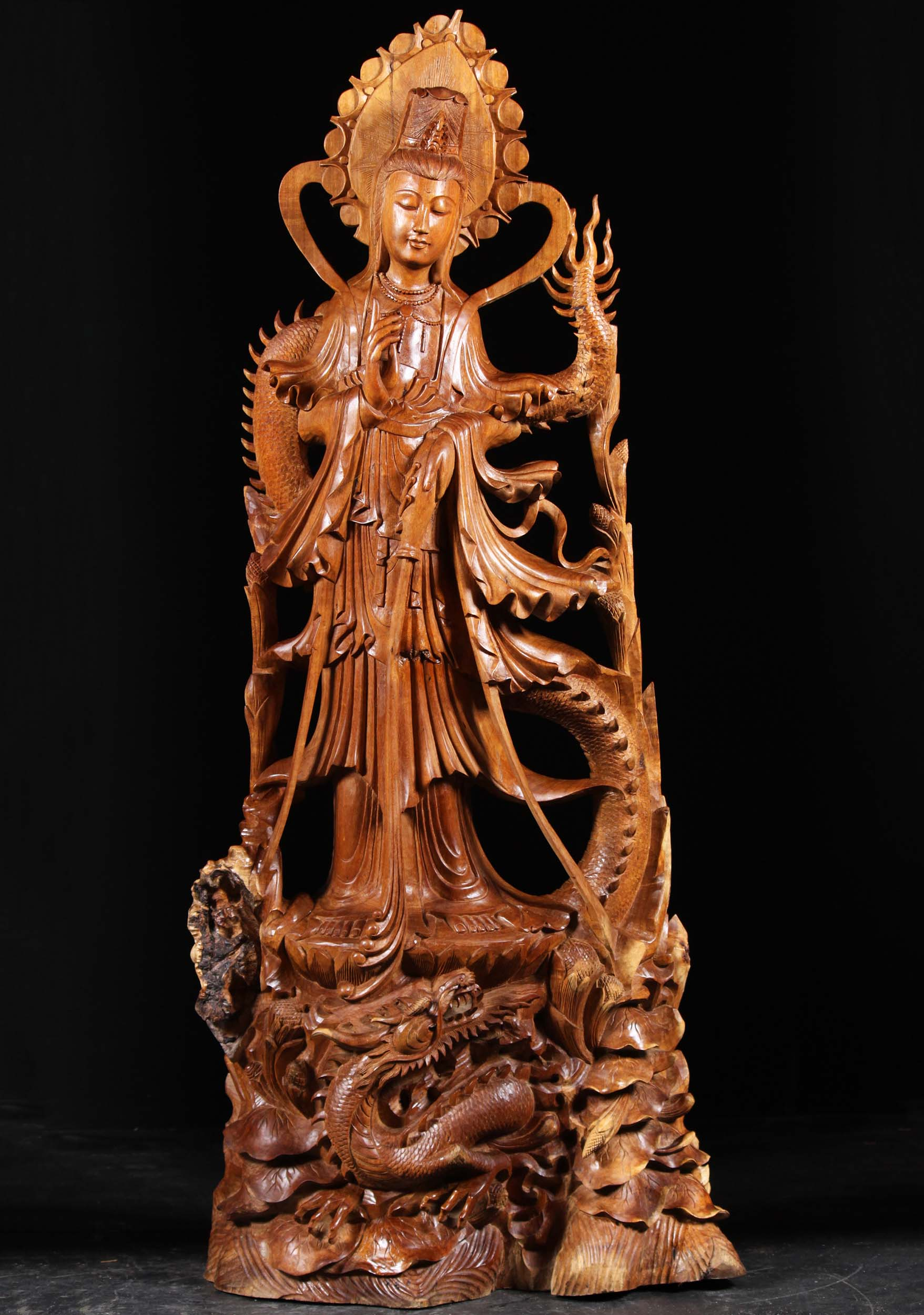 Sold wood bodhisattva kwan yin statue with dragon