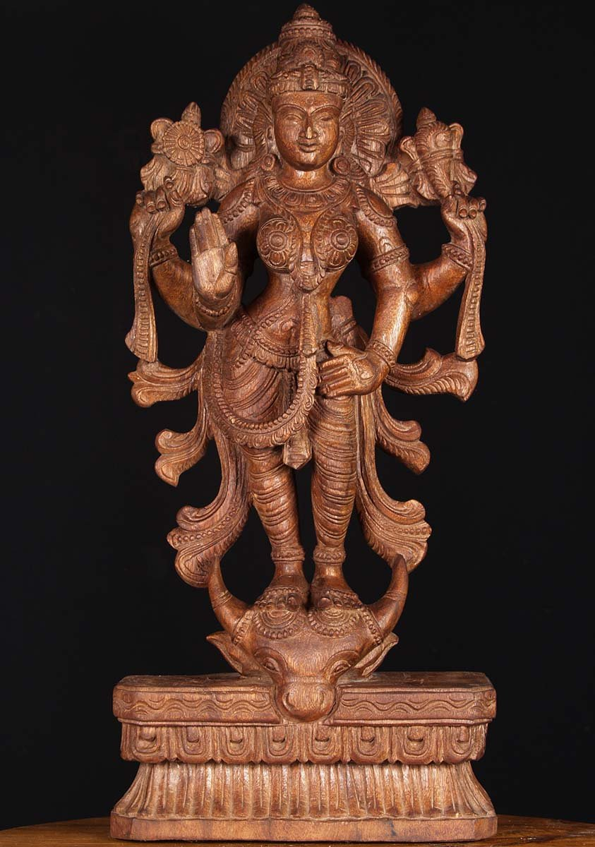 Sold Wood Durga Standing On Buffalo Head 25 Quot 76w3h