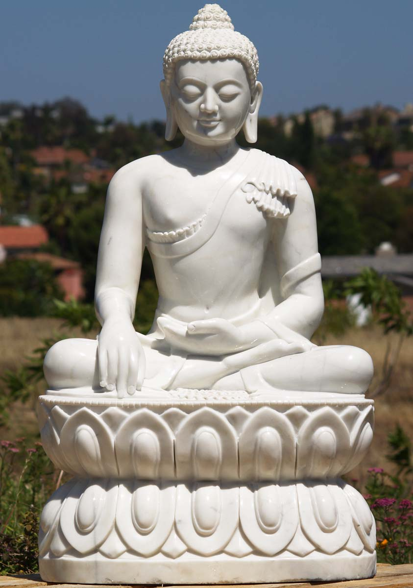 White Marble Statue : Sold white marble earth touching buddha statue quot wm