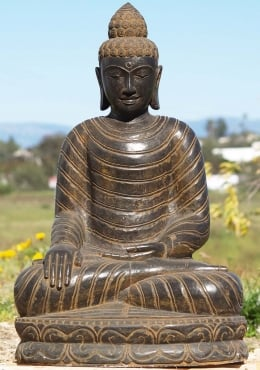 Stone Earth Touching Buddha Sculpture 36