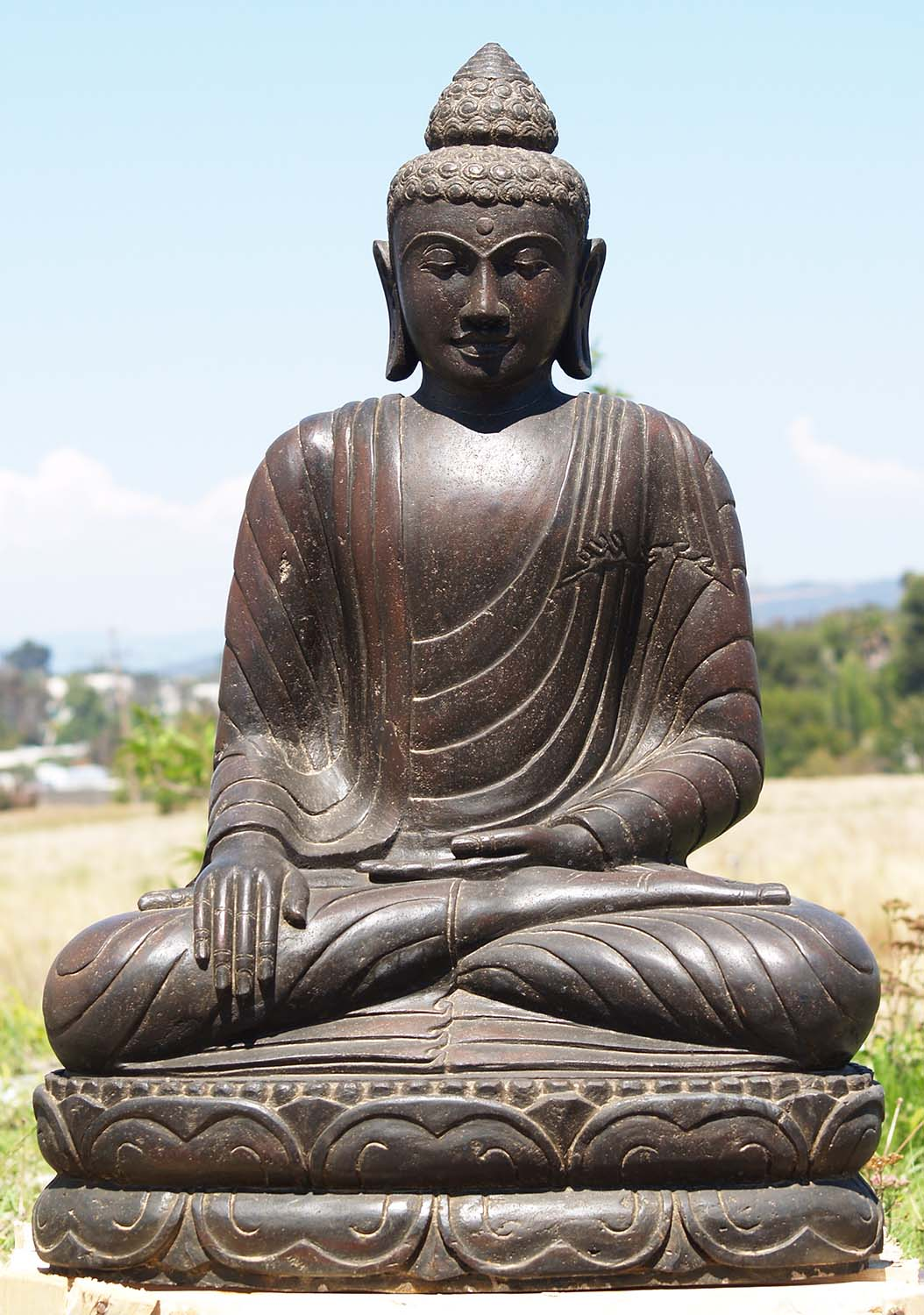 sold stone earth touching garden buddha statue 36. Black Bedroom Furniture Sets. Home Design Ideas