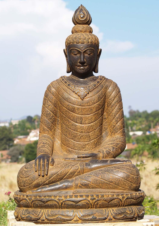 "Buddha Statues For The Garden: Earth Touching Buddha Statue Stone Garden 39"" (#85ls201"