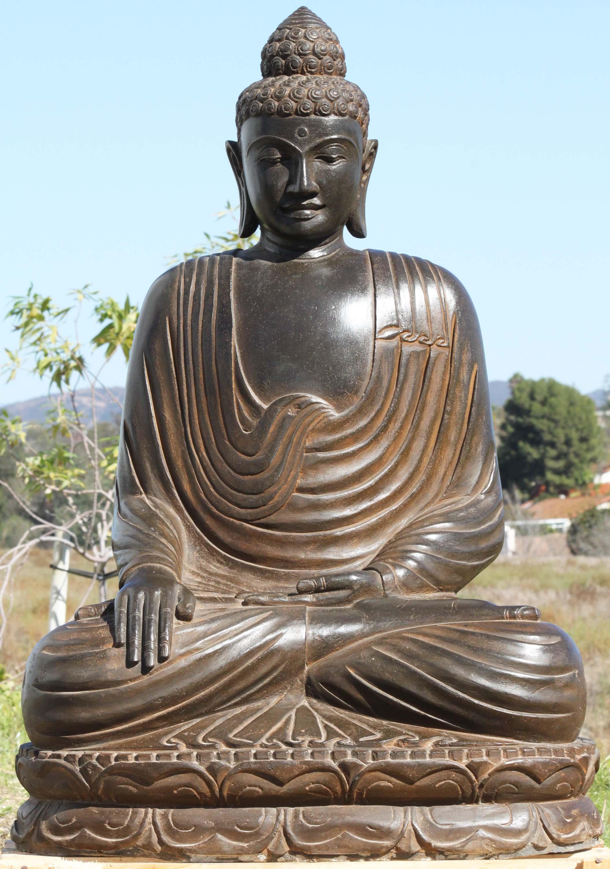 Sold stone earth touching garden buddha statue 40 for Outdoor buddha