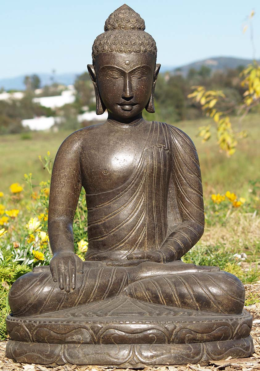 stone earth touching garden buddha statue 31 83ls21. Black Bedroom Furniture Sets. Home Design Ideas