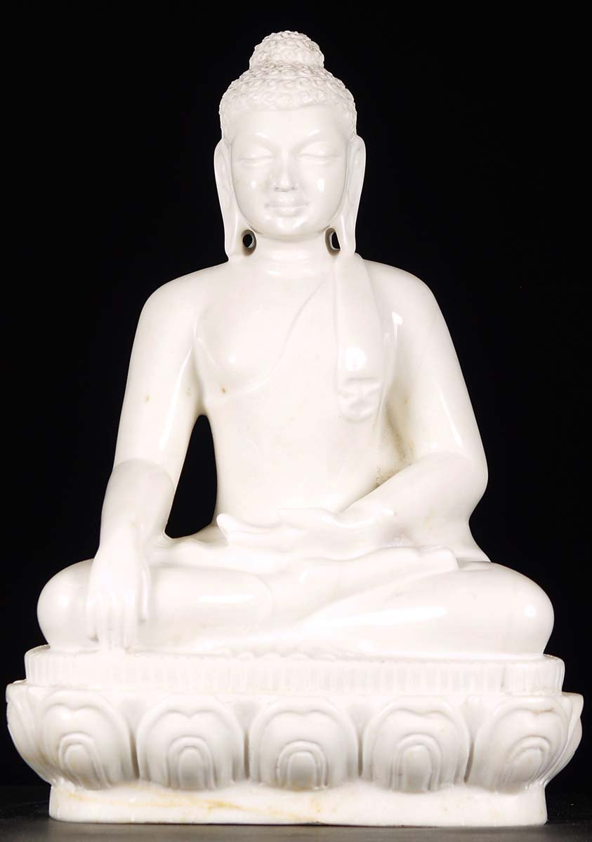 Sold White Marble Earth Touching Buddha Statue 19