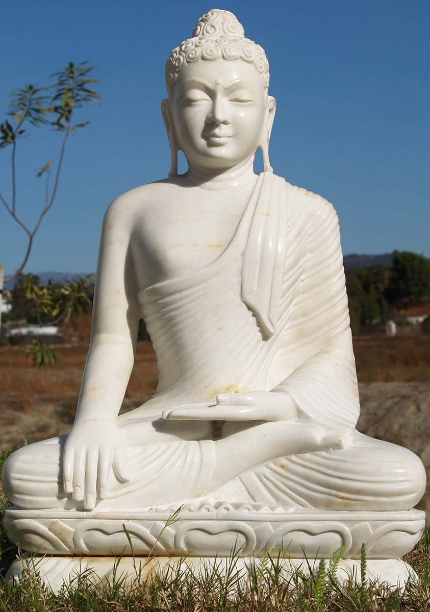 Sold Earth Touching White Marble Buddha 28 Quot 80wm5