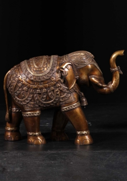 Brass Elephant Statue with Trunk Raised 21