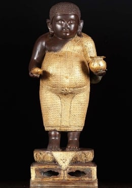 Fat Buddha Holding Gold Ingot & Gold Bag 31
