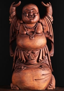 Wooden Standing Fat & Happy Buddha Statue 32