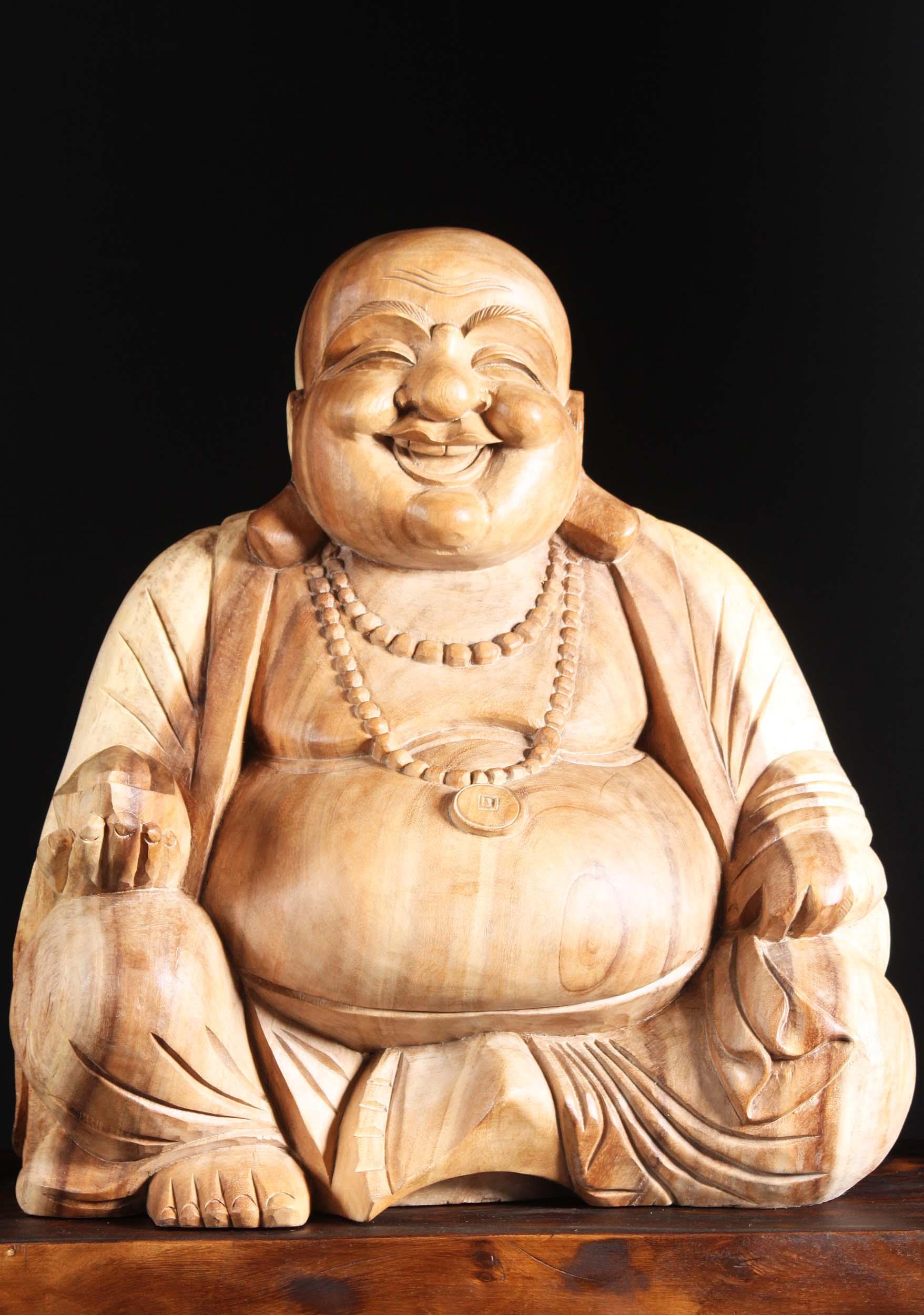 Wooden Fat & Happy Hotei Buddha Statue 23\