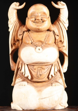 Wood Fat & Happy Buddha with Arms Raised 24.5