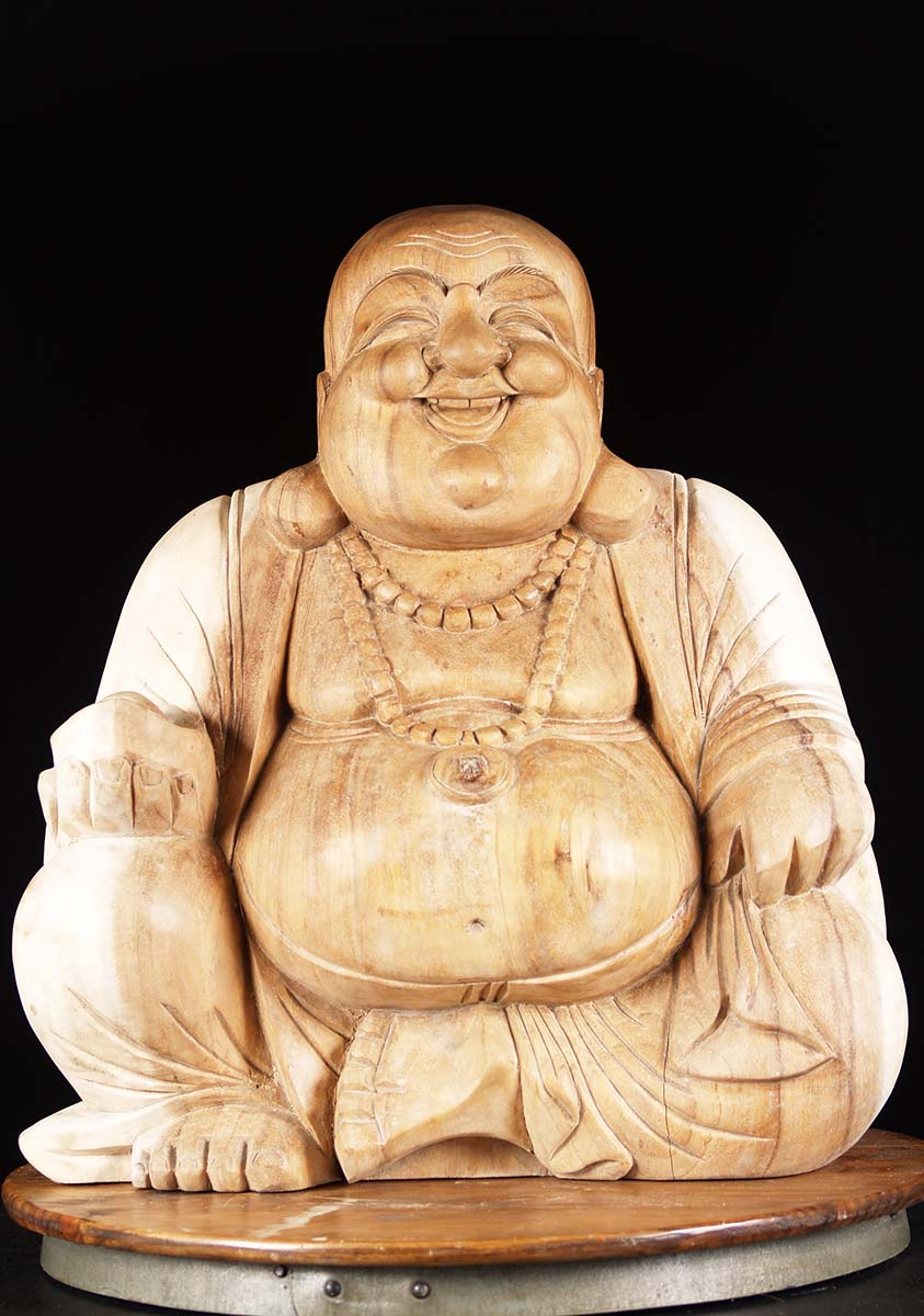 Sold wooden fat and happy buddha statue quot bw z