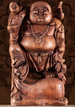 Wooden Fat Happy Buddha With Child Statue 24