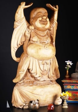 Wooden Fat Happy Standing Buddha Statue 40