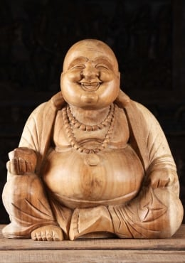 Wood Buddha of Wealth & Happiness Statue 20