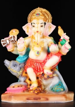 Fiber Ganesh Seated on Rat Holding a Drum 8