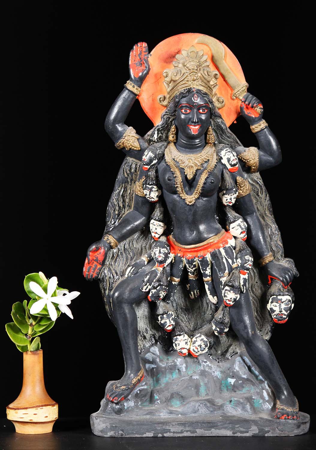 Sold Fiber Kali Statue Wearing Garland Of Skulls 15