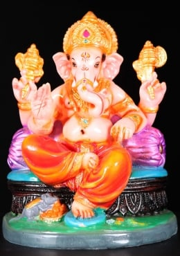 Fiber Ganesh Lounging on Pillow Statue 8