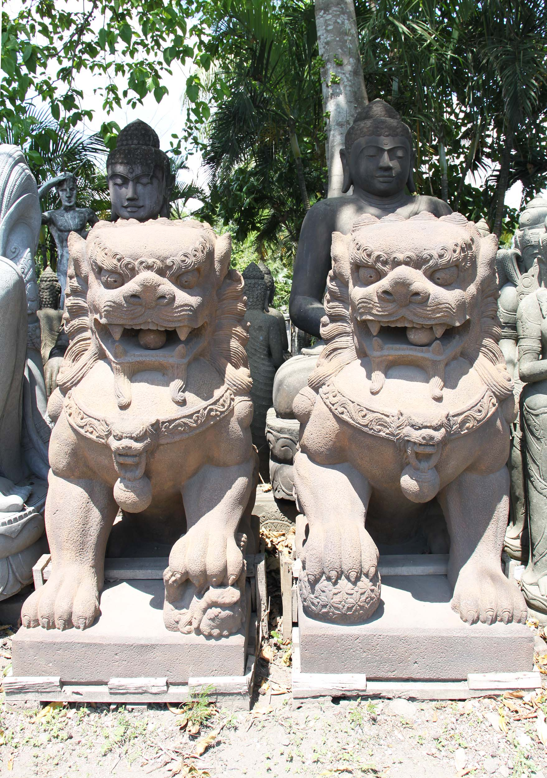Stone Pair Of Foo Dogs Or Shishi Lions 61