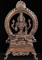 Brass Seated Gaja Lakshmi Statue 13