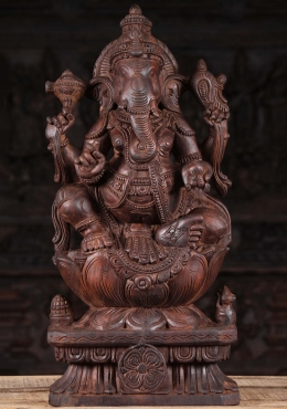 Wooden Relaxing Ganapathi Sculpture 24