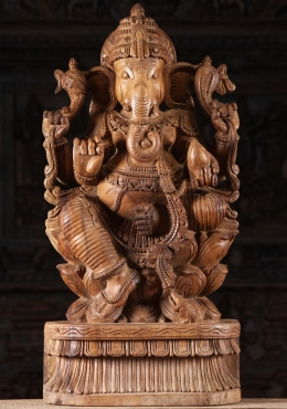 Wooden Seated Ganapathi Sculpture 30