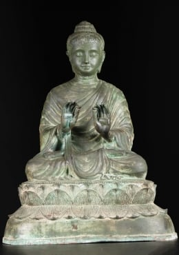 Brass Antique Patina Gandhara Teaching Buddha 27