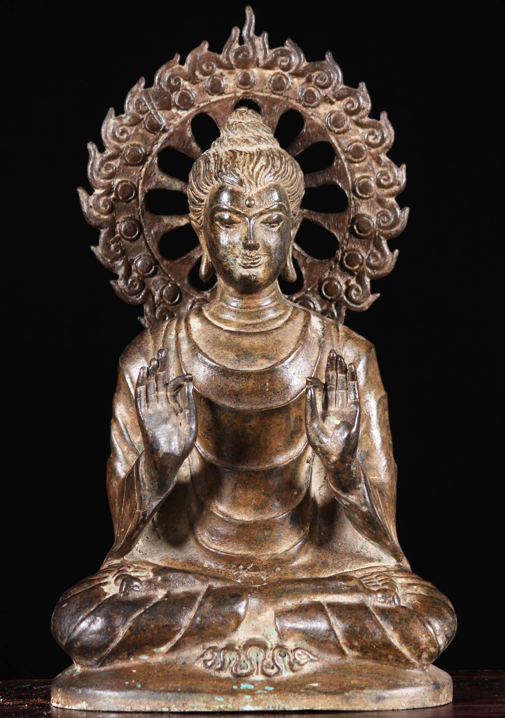 Sold Brass Buddha Statue With Flaming Chakra 12 Quot 106t10b