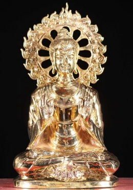 Brass Gold Gandhara Buddha with Flame Chakra 12
