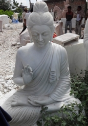 STATUE OF THE DAY White Marble Gandhara Buddha 72